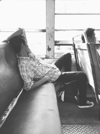 Im home Relaxing Sleeping Asianman Comfortable Bangkokbus Ontheroad Inthebus Real People Transportation One Person Public Transportation Sitting Indoors  Day