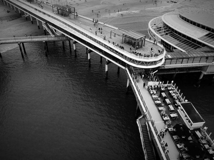 High angle view of scheveningen pier over sea