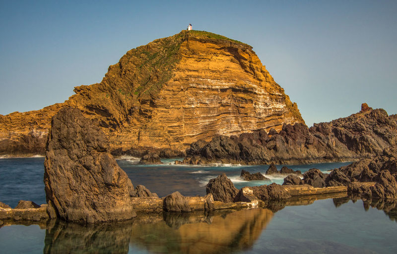 Panoramic View Of Rock Formation In Sea Against Clear Sky
