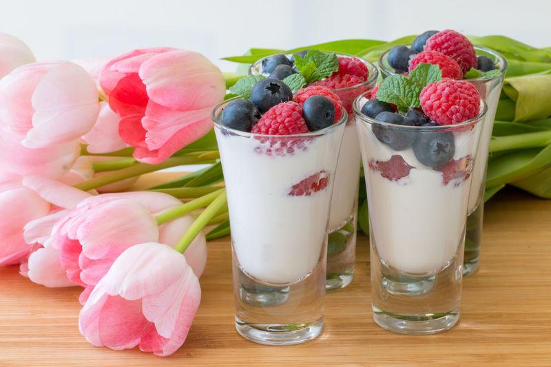 Berry Fruit Blueberries Breakfast Dairy Product Food Freshness Fruit Healthy Eating Mint Leaves No People Raspberries, Blueberries Raspberry Tulip Wooden Table Yogurt Yogurt♡♡♡♡♡