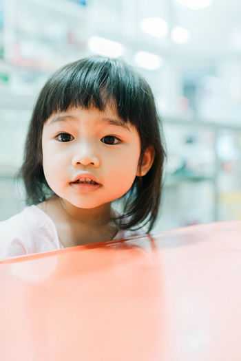 Asian Girl Childhood Close-up Cute Day Elementary Age Focus On Foreground Headshot Indoors  Innocence Lifestyles Looking At Camera One Person Portrait Real People