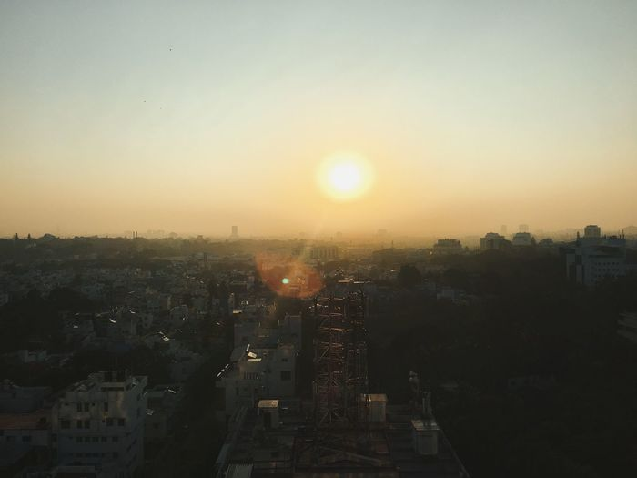 Sunrise India Bangalore City Cityscape Sun Built Structure High Angle View Sky Crowded