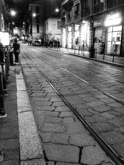 """"""" Tramtracks 2"""". Street Of Milano Street Photography Rail Binari Leading Lines Night Photography S3mini Mobile Photography Edited with Camerazoomfx ( B&w mode) and EyeEm Learn & Shoot : After Dark"""