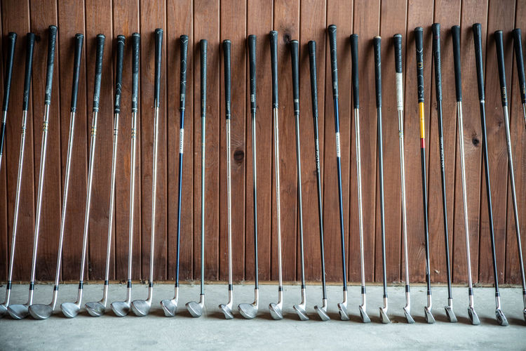 Golf Golfing Standing Different Sizes Golf Stick Large Group Of Objects No People Order Outdoor Games