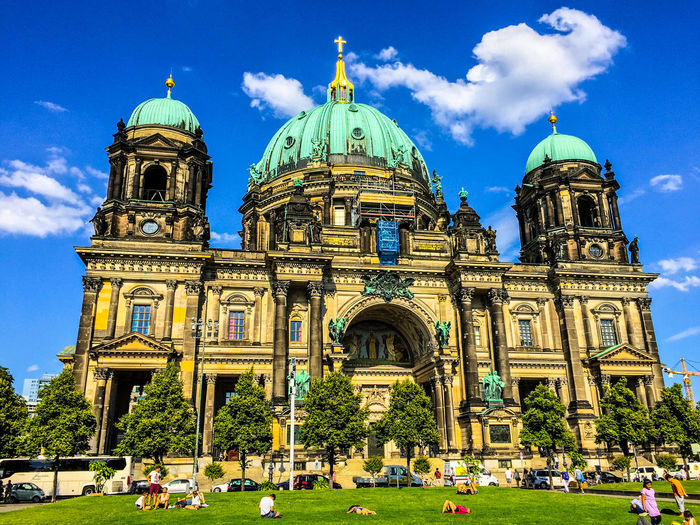 Axel & Boris Architecture Architecture Berlin Berlin Dom Berlin Museuminsel Berliner Dom Blue Blue Sky Boat Built Structure Church Day Dome Façade Green Grass Museum Island Place Of Worship River Sky Tourism Travel Destinations Tree