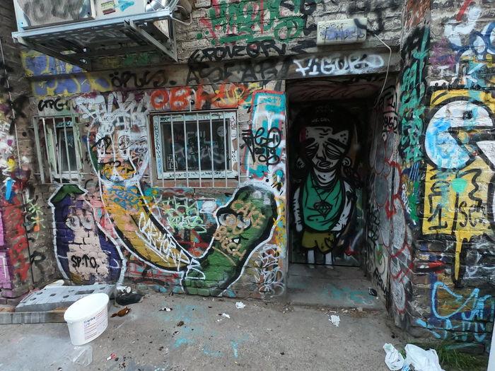 Graffiti on wall of abandoned building