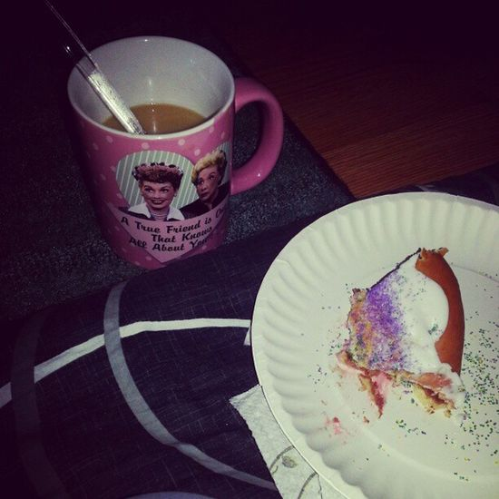 Having a snack. KingCake  Frenchvanillacoffee