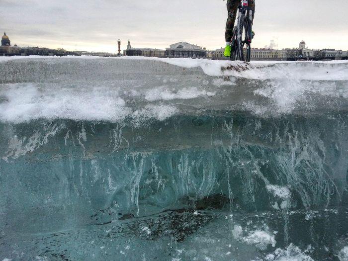 Neva river embankment Isaac's Cathedral Ice Spb Saint Petersburg Neva Neva River Bycicle Bicyclist Vasilevsky Island Winter Close-up EyeEmNewHere