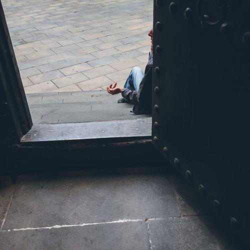 A beggar near church in Barcelona Beggar Charity Church City Life Hand Homeless Man Mercy  Need Poor  Poverty