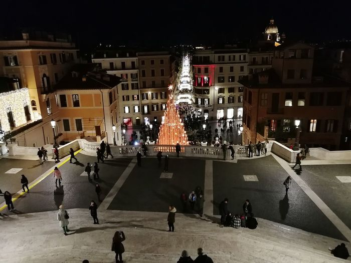 Spanish Steps Rome Italy Travel Destinations Outdoors City Night Building Exterior Architecture Built Structure Large Group Of People Real People Leisure Activity Illuminated Sky People