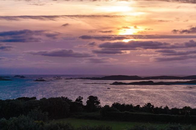 Interesting colours over Tresco Sunset Beauty In Nature Nature Scenics Tranquil Scene Tranquility Sky Idyllic No People Water Outdoors Cloud - Sky Landscape Sea Day Tresco