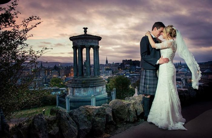 Jennifer and Callum on their wedding day in Edinburgh. Wedding Wedding Photography Edinburgh Sunset Edinburgh