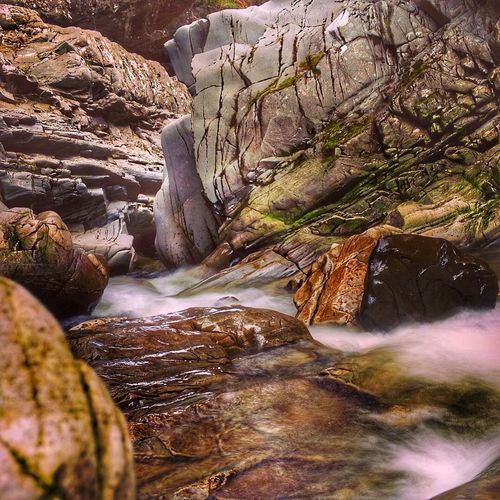 Blurred motion of waterfall at aviemore