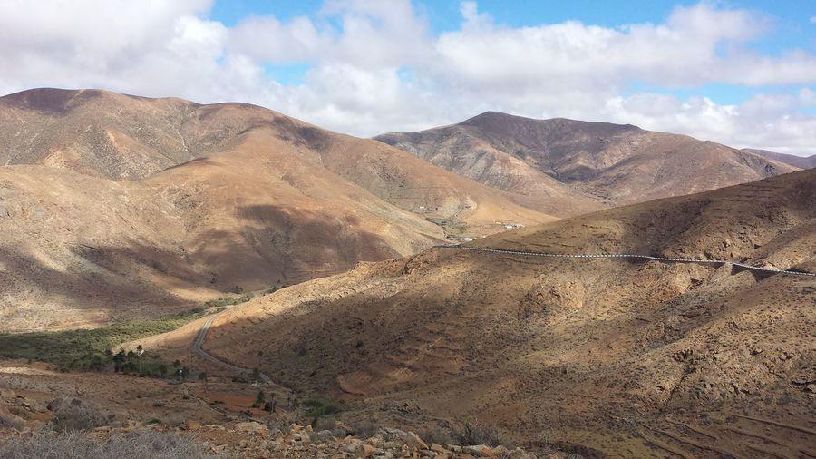 Sky Landscape Road Mountain Fuerteventura Cloud - Sky Dessert Rock Shadow Sky And Clouds Cloudy Roadtrip