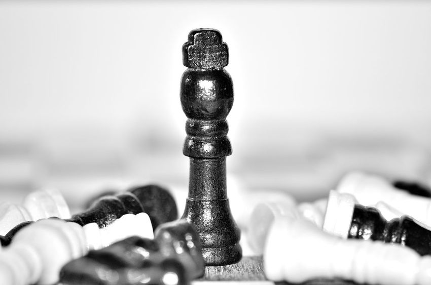 Close-up No People Indoors  Day Chesspieces Chesse ♥ Chess Chess Board Chess Game Gaming Time Blackandwhite Black & White Game Over Chessboard Chess Figures Standing Victory Backgrounds Chessboard Pieces Chessgame King King - Chess Piece