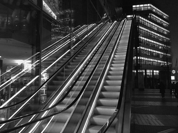 Architecture Built Structure Modern Blackandwhite Photography Building Exterior Steps Illuminated Night Staircase Outdoors Blackandwhite Black And White Black & White Street Photography Monochrome Photography Monochrome Berliner Ansichten Light And Shadow Reflection Bnw Berlin B&W Magic Architecture City IPhoneography Welcome To Black