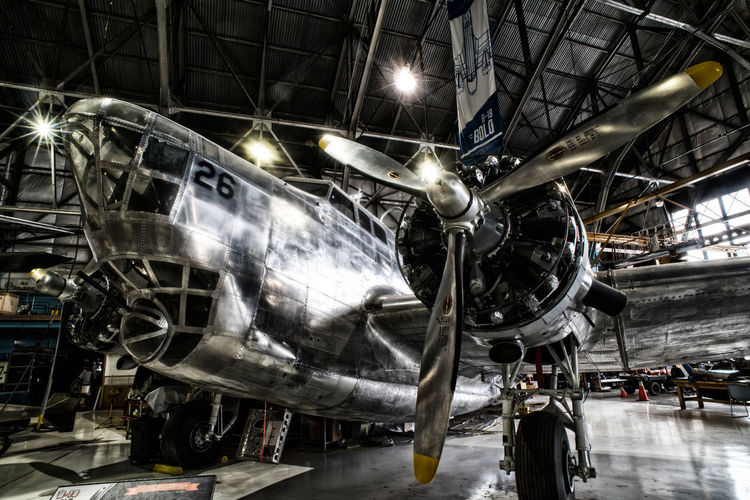 Jan 2019 - Lowry Air Museum US Air Force Indoors  Transportation Mode Of Transportation Aerospace Industry Stationary Airplane Machinery Air Vehicle Museum Metal No People Illuminated Military Airplane Engine Ceiling Industry Stylized Photo Radial Engine Propeller Airplane Blades Aerodynamic