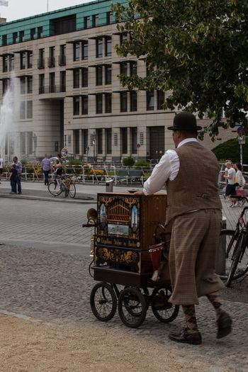 Capture Berlin City Handorgan Hurdy-gurdy Organ Grinder Street Street Organ Transportation Walking