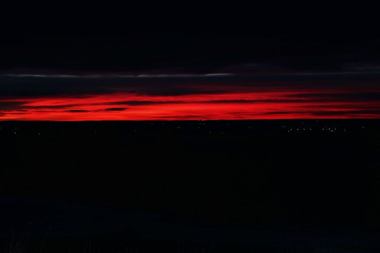 Scenic view of red sky at night