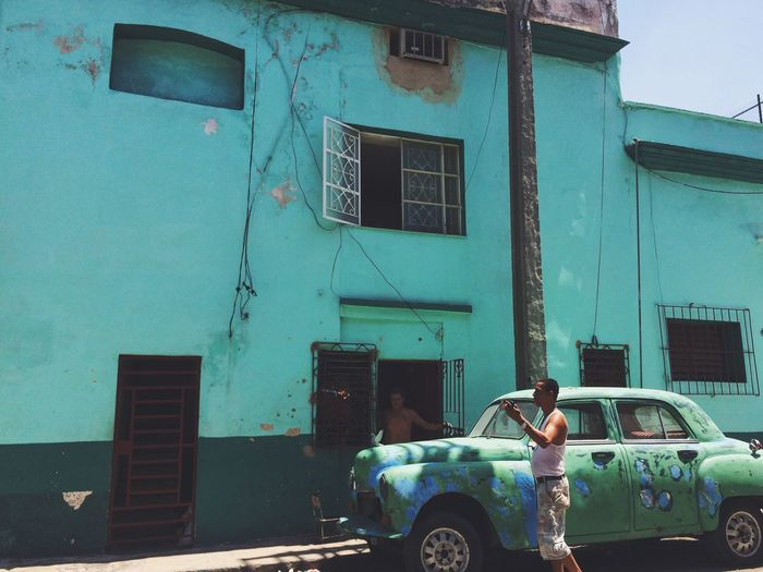 Matching Cuba Conversation Car Building Exterior Architecture Built Structure Outdoors Transportation Window Day