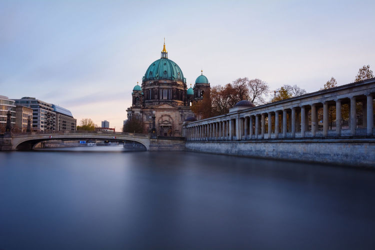 Berlin Cathedral during sunset /blue hour. Architectural Detail Architecture Berlin Cathedral Berlin Cathedral Blue Hour Culture Deutschland Europe Famous Place Fineart Germany International Landmark Long Exposure Museumisland Philipp D Reflection Reflections In The Water Religion Sightseeing Sunset Traveling Urban Urban Geometry Urban Icon Winter
