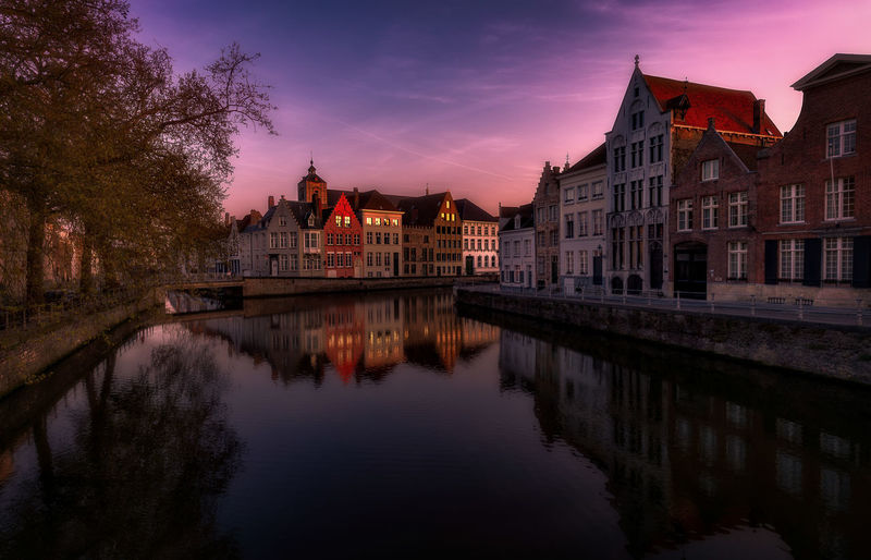 Remo SCarfo Built Structure Building Exterior Architecture Water Sky Reflection Waterfront Building City Nature Sunset River Dusk Tree No People Cloud - Sky The Past Brugge Belgium EyeEm Best Shots EyeEm Selects