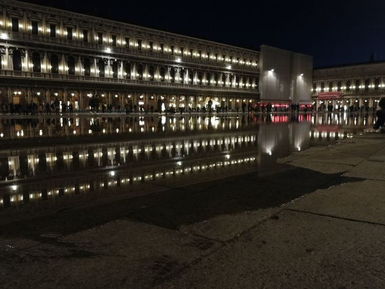 Piazza San Marco Venice, Italy Acqua Alta Politics And Government City Illuminated Sport Sky Architecture