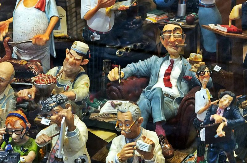 Relax, it's Weekend ! Welcome To Belgium . People Peoplephotography People And Art Travel Photography Travel Model. Funny figurines mimicking belgian stereotypes, found in a shop window in central Brussels. The Human Condition