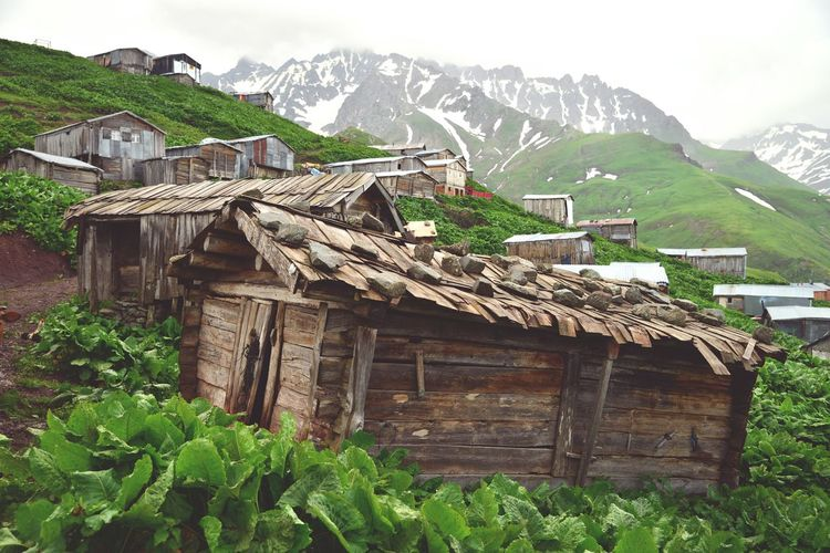 Low angle view of houses on mountain
