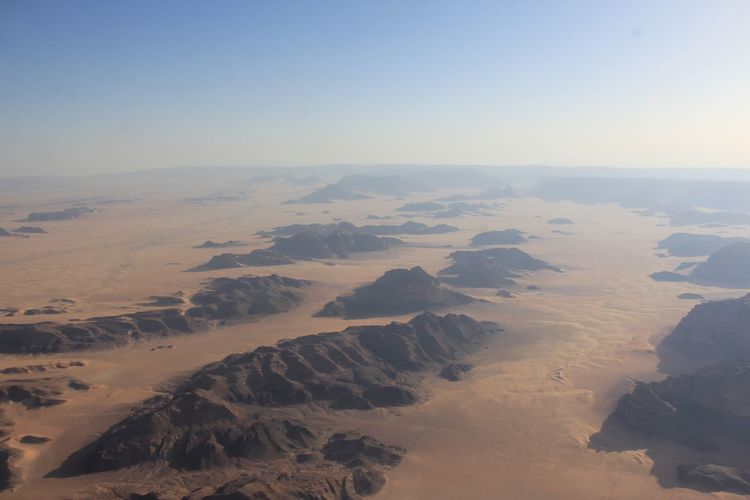 Wadi Rum from a hot air balloon Sand Jordan Wadi Rum Aerial View Desert