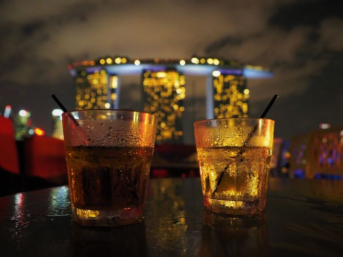 Marina Bay Sands Hotel Singapore Alcohol Bar - Drink Establishment Bar Counter Close-up Cocktail Cold Temperature Drink Drinking Glass Event Focus On Foreground Food Food And Drink Freshness Glass Household Equipment Indoors  Nightlife No People Refreshment Still Life Table