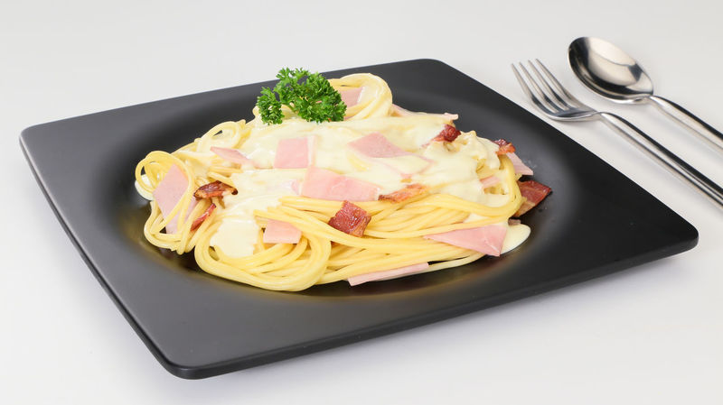 spaghetti carbonara on white background Close-up Food Food And Drink Fork Freshness Healthy Eating High Angle View Indoors  Italian Food No People Plate Ready-to-eat Spagetthi Spagetti Still Life Studio Shot Table White Background