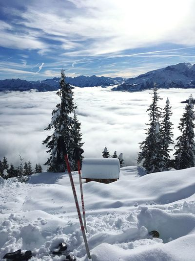 Holiday Leisure Activity Skiing Sport Cold Temperature Snow Winter Sky Cloud - Sky Nature Beauty In Nature Scenics - Nature Tree Tranquil Scene Tranquility Frozen White Color Covering Mountain Day Outdoors The Great Outdoors - 2019 EyeEm Awards The Traveler - 2019 EyeEm Awards