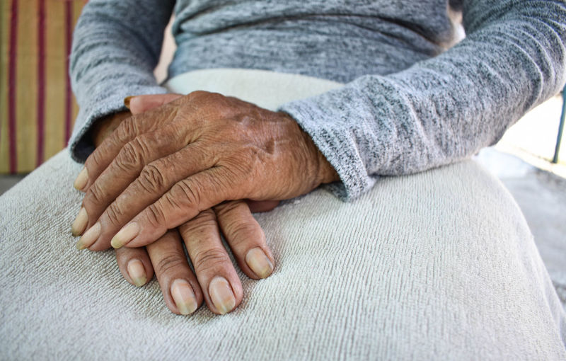 Midsection of woman with hands clasped