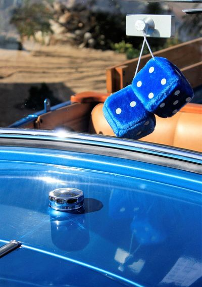 Fuzzy dice on a cool classic hot rod Blue Car Show Classic Car Close-up Convertible Daytime Fuzzy Dice Hot Rod Nostalgia Summer Vintage