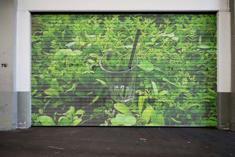 Graffiti Art Markethall Indoors  Roll-up Shutters No People Green Color Wall Map Outdoors Day Wall - Building Feature Direction Nature Built Structure Architecture Plant Design
