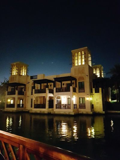 Dubai Jumairah Illuminated Building Exterior Architecture Water City Night Travel Destination Arabic Hotel Traditional UAE UAE , Dubai AlQasr Alqa