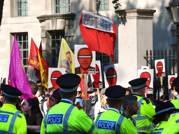 Erdogan protest. Whitehall. London 15/05/2018 Turkish president Erdigan visiting london, protest outside of Downing Street. Protest Protesters Turkey Zuiko Whitehall Metropolitan Police London News Steve Merrick Erdogan Protest Olympus London Erdogan Turkish Protest Stevesevilempire Architecture Group Of People Built Structure Real People City People Adult Arts Culture And Entertainment Building Exterior