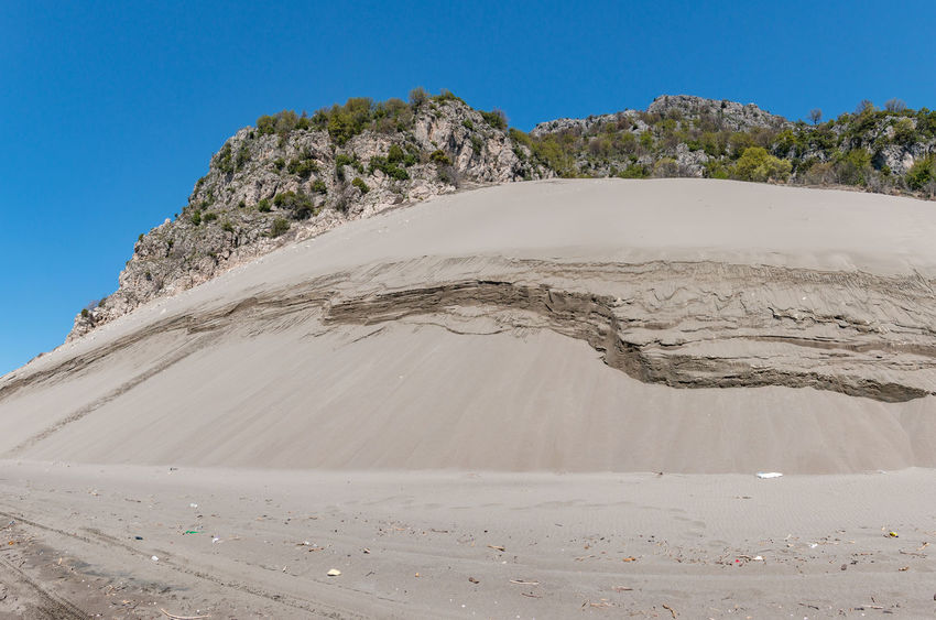Albania Shengjin Arid Climate Beach Beauty In Nature Blue Clear Sky Climate Day Desert Environment Idyllic Land Landscape Mountain Nature Outdoors Physical Geography Ranahedhun Sand Scenics - Nature Sky Summer Tranquil Scene Tranquility