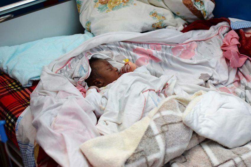 Kyamuhunga Hospital Uganda Newborn Hospital Bedroom Bed Lying Down Pillow Sleeping High Angle View Babyhood One Baby Boy Only Babies Only Baby 0-1 Months A New Beginning