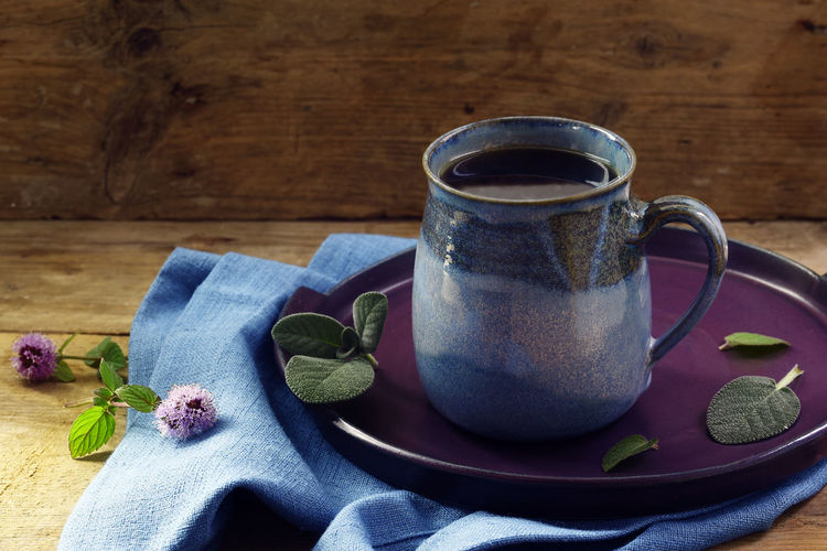 Copy Space Hot Rustic Sage Tea Wood Alternative Medicine Blue Cold Cup Drink Flu Healing Herbs Health Herbal Home Remedies Honey Illness Immune System Mint Mug No People Prevention Table Wood - Material