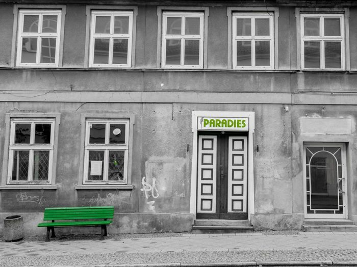 DDR Remnants Paradise Old Buildings Green Black And White Neustrelitz Colorkey TakeoverContrast The Secret Spaces