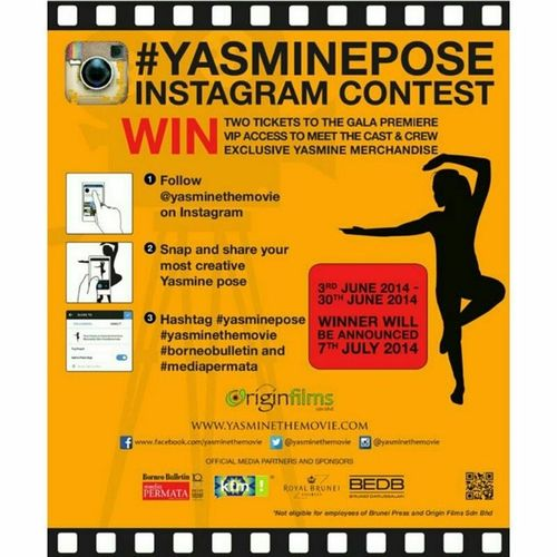 Today is the last day!! If you havent done your pose yet, make sure you post it today. Dont forget to hashtag it YasmineTheMovie Yasminepose Borneobulletin Mediapermata Good luck all ????