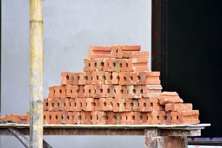 Close-up of stack of bricks.