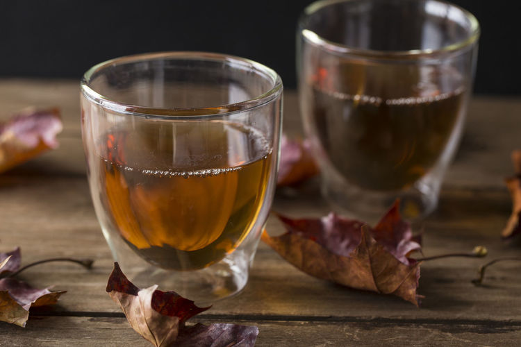 Autumn Autumn Leaves Tea Afternoon Tea Drink Drinking Glass Fall Focus On Foreground Food And Drink Freshness Leaves Refreshment Table Wood - Material