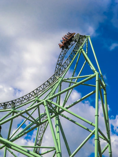 Fun Green Rollercoaster Amusement Park Amusement Park Ride Arts Culture And Entertainment Blue Blue Sky Blue Sky And Clouds Built Structure Cloud - Sky Day Fun Park Funpark Go-west-photography.com Leisure Activity Low Angle View Metal Metal Construction Outdoors Real People Ride Roller Coaster Sky Done That.