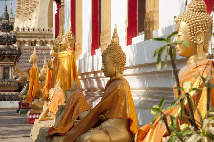 Buddha Statues in Pha That Luang Buddha Statue Vientiane Laos Pha That Luang
