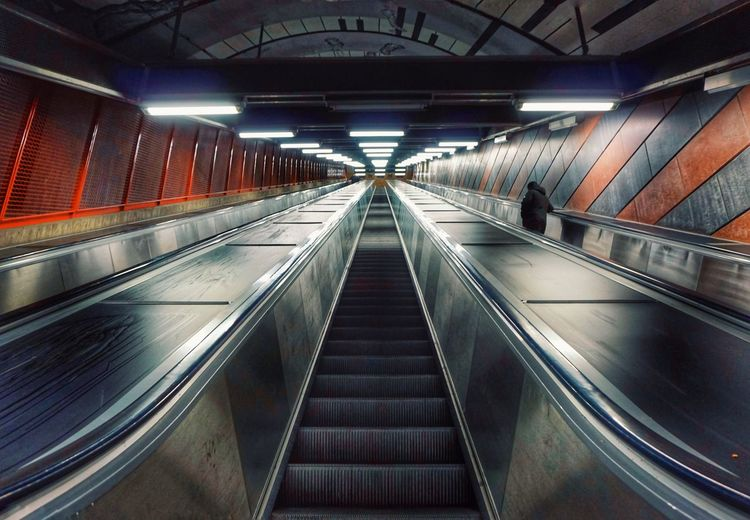 View of escalator in subway