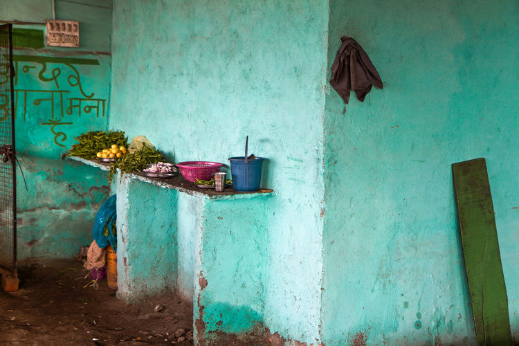 Kitchen in India ASIA India Travel Wall Abandoned Architecture Blue Building Exterior Built Structure Day Food Fruits Kitchen Kitchen Utensils No People Still Life Vegetable