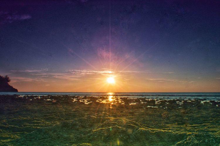 The Sunset Water Sea Galaxy Sunset Beach Astronomy Sky Horizon Over Water Shining Sun Romantic Sky Coast Tide Evening Sunbeam